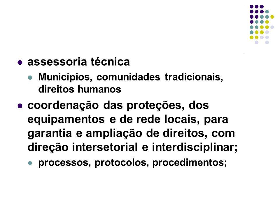 assessoria técnica Municípios, comunidades tradicionais, direitos humanos coordenação das proteções, dos equipamentos e de rede locais, para garantia