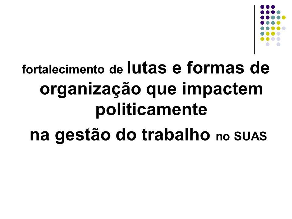 fortalecimento de lutas e formas de organização que impactem politicamente na gestão do trabalho no SUAS