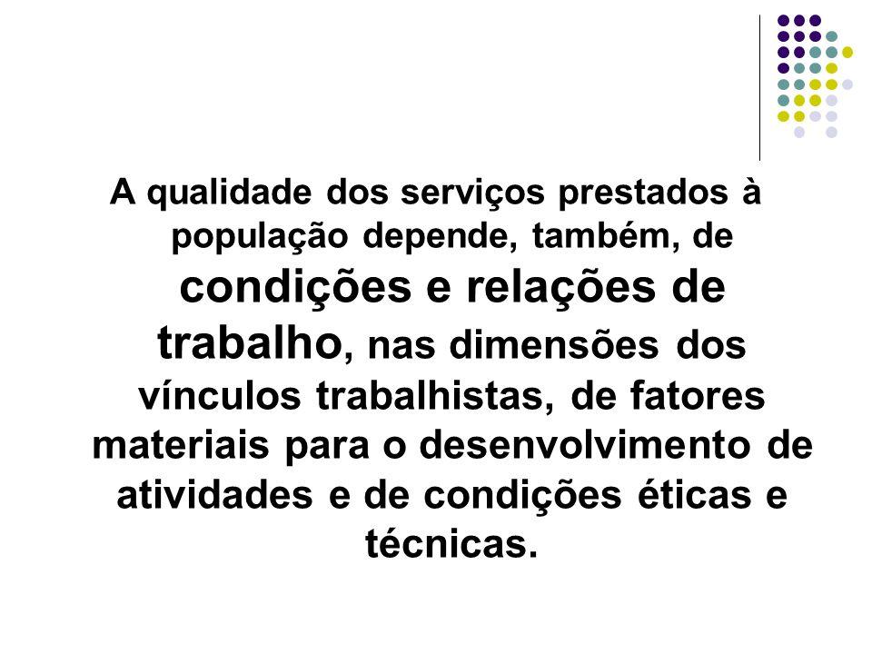 A qualidade dos serviços prestados à população depende, também, de condições e relações de trabalho, nas dimensões dos vínculos trabalhistas, de fator
