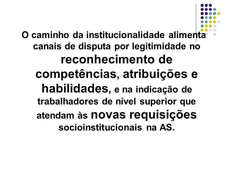 O caminho da institucionalidade alimenta canais de disputa por legitimidade no reconhecimento de competências, atribuições e habilidades, e na indicaç
