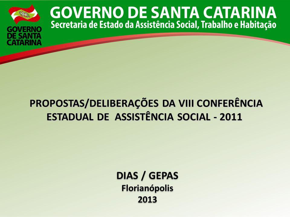 PROPOSTAS/DELIBERAÇÕES DA VIII CONFERÊNCIA ESTADUAL DE ASSISTÊNCIA SOCIAL - 2011 PROPOSTAS/DELIBERAÇÕES DA VIII CONFERÊNCIA ESTADUAL DE ASSISTÊNCIA SO