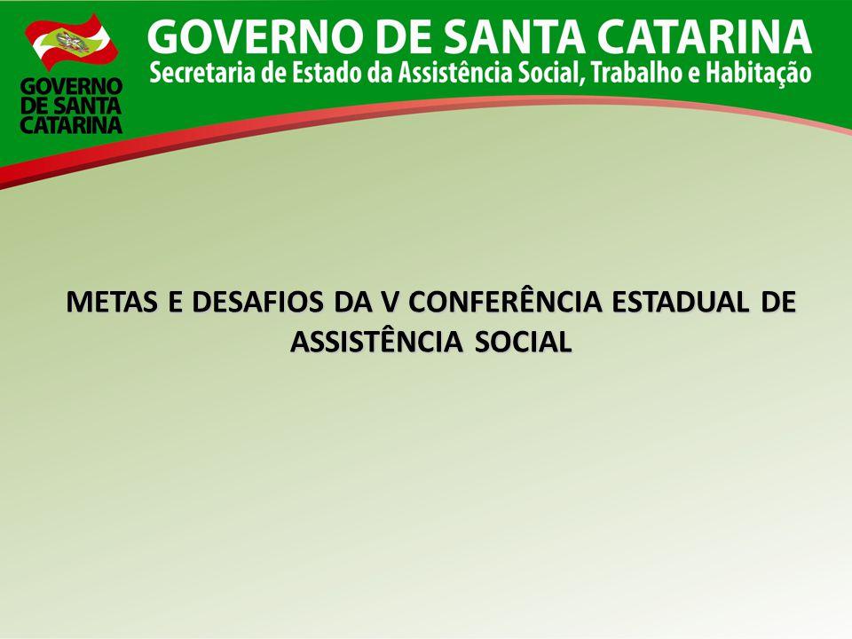 METAS E DESAFIOS DA V CONFERÊNCIA ESTADUAL DE ASSISTÊNCIA SOCIAL