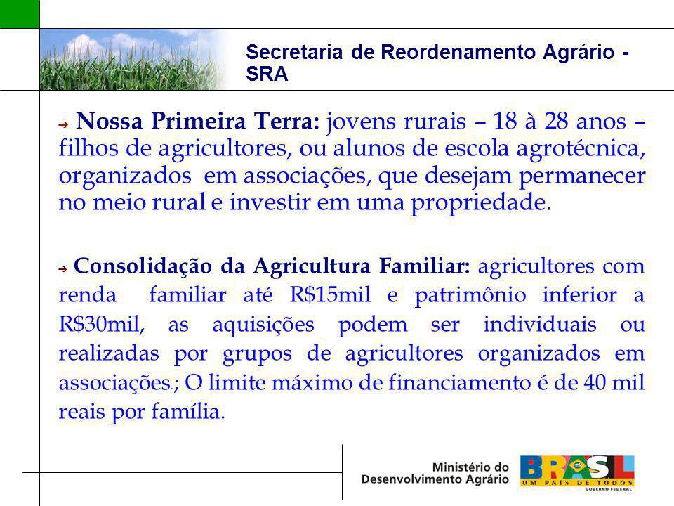 Secretaria de Reordenamento Agrário - SRA Nossa Primeira Terra: jovens rurais – 18 à 28 anos – filhos de agricultores, ou alunos de escola agrotécnica