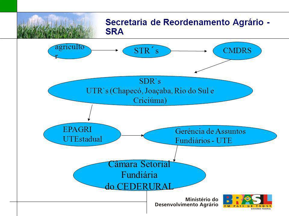 Secretaria de Reordenamento Agrário - SRA agriculto r STR´s CMDRS EPAGRI UTEstadual SDR`s UTR`s (Chapecó, Joaçaba, Rio do Sul e Criciúma) Gerência de