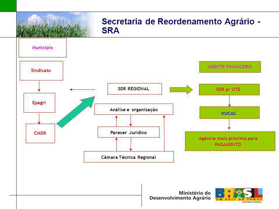 Secretaria de Reordenamento Agrário - SRA Sindicato Município Epagri CMDR Análise e organização SDR REGIONAL Câmara Técnica Regional Parecer Jurídico