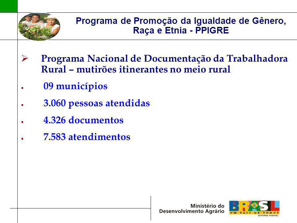 Programa de Promoção da Igualdade de Gênero, Raça e Etnia - PPIGRE Programa Nacional de Documentação da Trabalhadora Rural – mutirões itinerantes no m