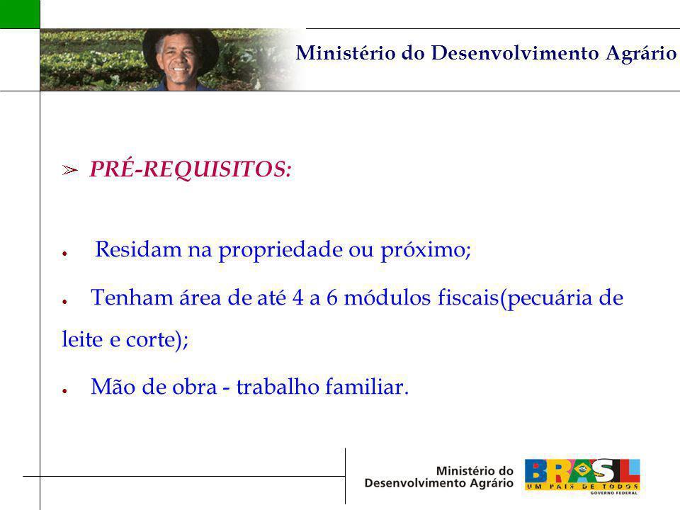Ministério do Desenvolvimento Agrário PRÉ-REQUISITOS: Residam na propriedade ou próximo; Tenham área de até 4 a 6 módulos fiscais(pecuária de leite e