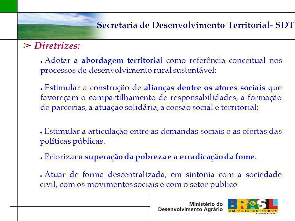 Diretrizes: Secretaria de Desenvolvimento Territorial- SDT Adotar a abordagem territoria l como referência conceitual nos processos de desenvolvimento