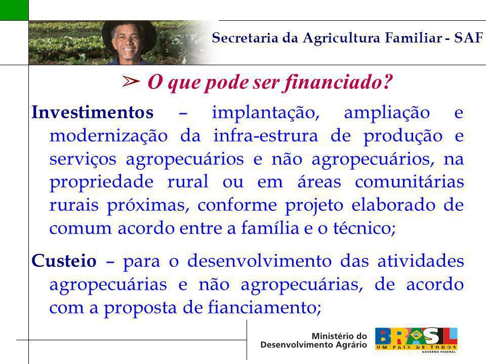 Secretaria da Agricultura Familiar - SAF O que pode ser financiado? Investimentos – implantação, ampliação e modernização da infra-estrura de produção
