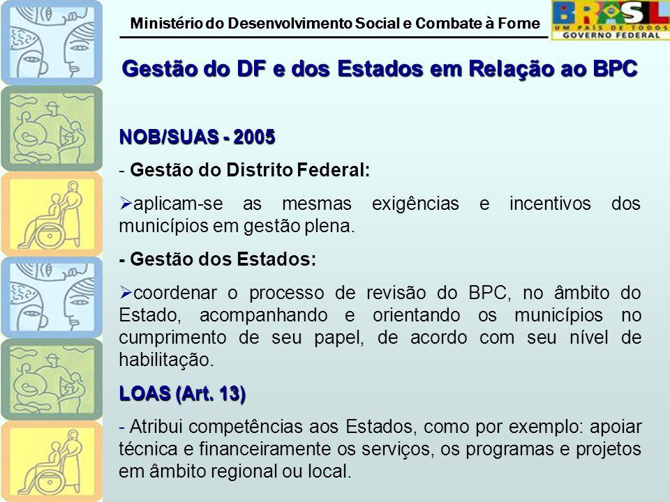 Ministério do Desenvolvimento Social e Combate à Fome Gestão do DF e dos Estados em Relação ao BPC NOB/SUAS - 2005 - Gestão do Distrito Federal: aplicam-se as mesmas exigências e incentivos dos municípios em gestão plena.