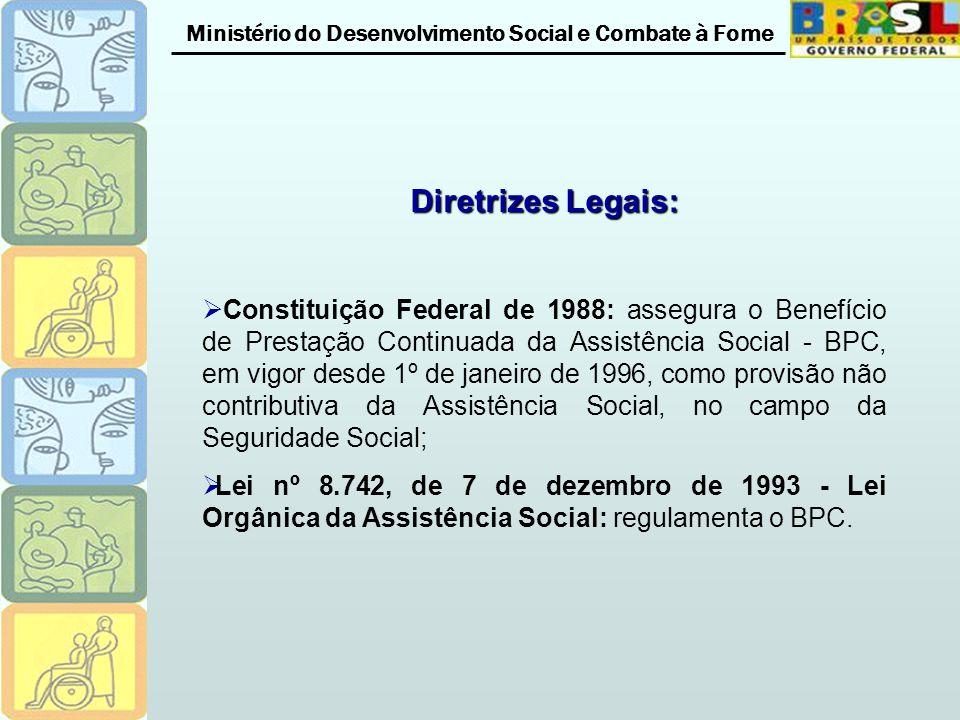 Ministério do Desenvolvimento Social e Combate à Fome Diretrizes Legais: Constituição Federal de 1988: assegura o Benefício de Prestação Continuada da Assistência Social - BPC, em vigor desde 1º de janeiro de 1996, como provisão não contributiva da Assistência Social, no campo da Seguridade Social; Lei nº 8.742, de 7 de dezembro de 1993 - Lei Orgânica da Assistência Social: regulamenta o BPC.