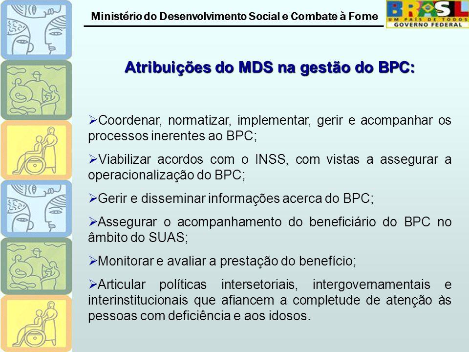 Ministério do Desenvolvimento Social e Combate à Fome Atribuições do MDS na gestão do BPC: Coordenar, normatizar, implementar, gerir e acompanhar os processos inerentes ao BPC; Viabilizar acordos com o INSS, com vistas a assegurar a operacionalização do BPC; Gerir e disseminar informações acerca do BPC; Assegurar o acompanhamento do beneficiário do BPC no âmbito do SUAS; Monitorar e avaliar a prestação do benefício; Articular políticas intersetoriais, intergovernamentais e interinstitucionais que afiancem a completude de atenção às pessoas com deficiência e aos idosos.