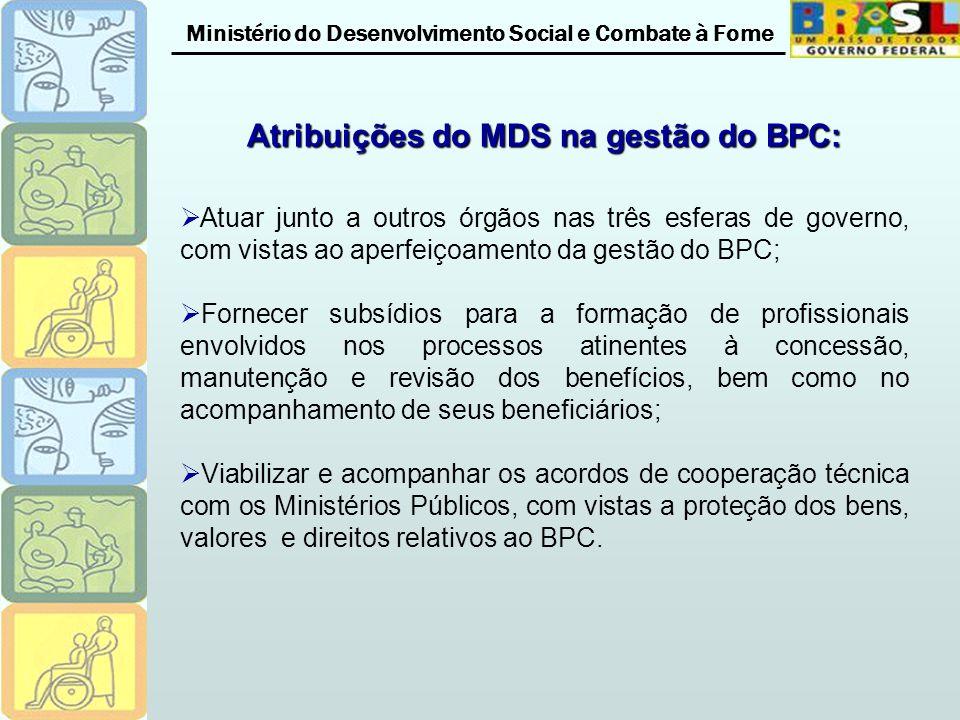 Ministério do Desenvolvimento Social e Combate à Fome Atribuições do MDS na gestão do BPC: Atuar junto a outros órgãos nas três esferas de governo, co