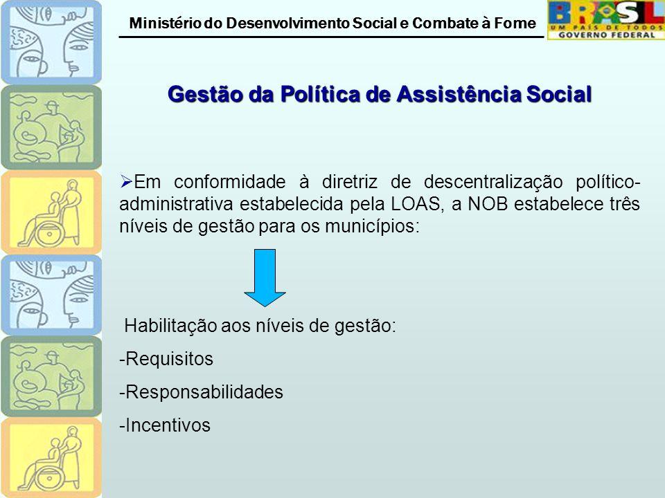 Ministério do Desenvolvimento Social e Combate à Fome Gestão da Política de Assistência Social Em conformidade à diretriz de descentralização político- administrativa estabelecida pela LOAS, a NOB estabelece três níveis de gestão para os municípios: Habilitação aos níveis de gestão: -Requisitos -Responsabilidades -Incentivos