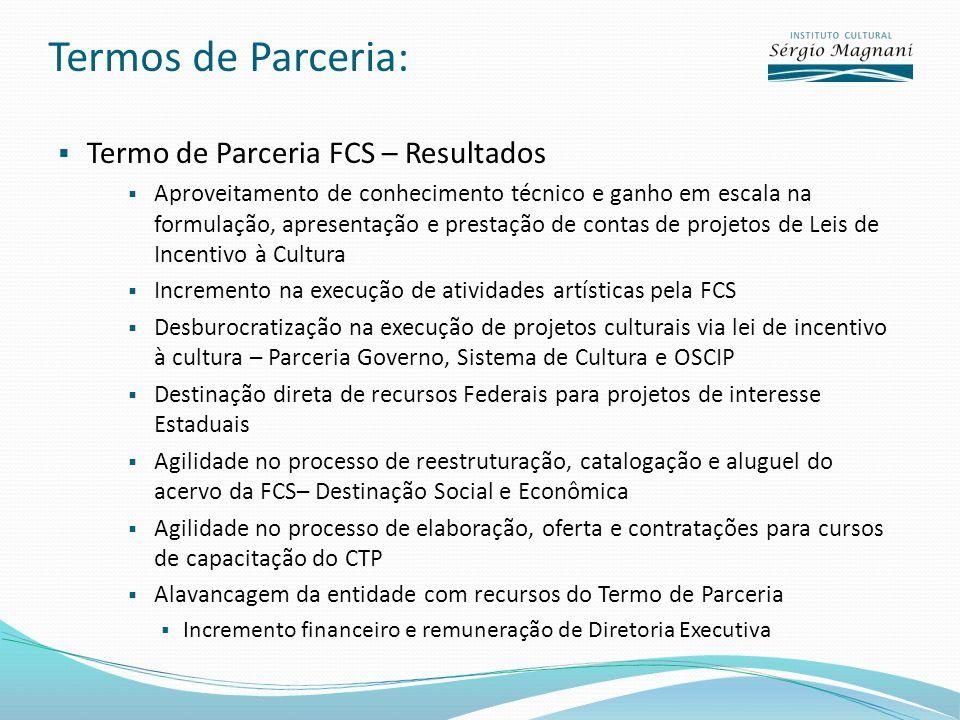 Termos de Parceria: Termo de Parceria FCS – Resultados Aproveitamento de conhecimento técnico e ganho em escala na formulação, apresentação e prestaçã