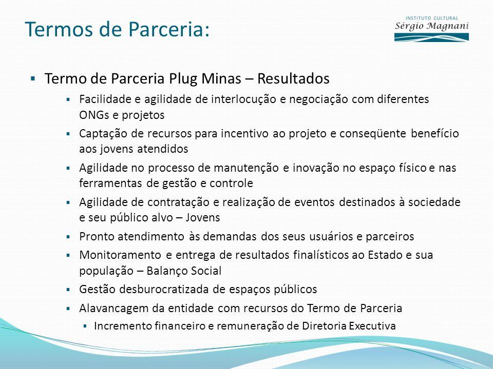 Termos de Parceria: Termo de Parceria Plug Minas – Resultados Facilidade e agilidade de interlocução e negociação com diferentes ONGs e projetos Capta
