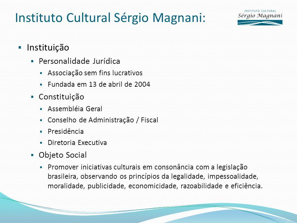 Instituto Cultural Sérgio Magnani: Instituição Personalidade Jurídica Associação sem fins lucrativos Fundada em 13 de abril de 2004 Constituição Assem