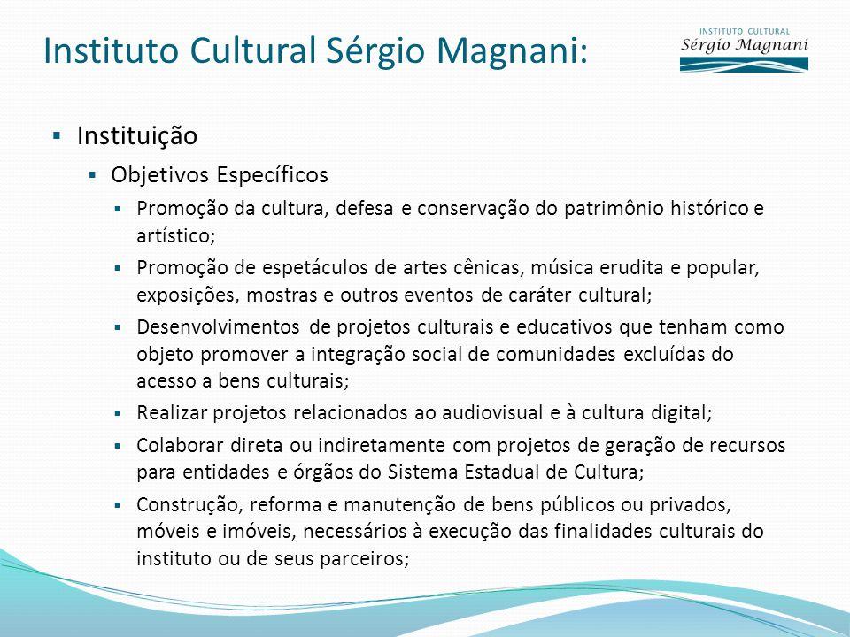 Instituto Cultural Sérgio Magnani: Instituição Objetivos Específicos Promoção da cultura, defesa e conservação do patrimônio histórico e artístico; Pr