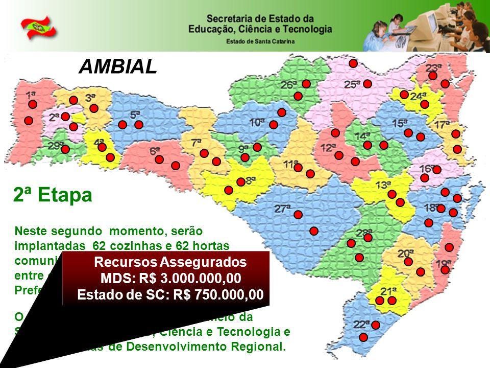 AMBIAL 2ª Etapa Neste segundo momento, serão implantadas 62 cozinhas e 62 hortas comunitárias em proposta de parceria entre o Governo do Estado e as Prefeituras Municipais.