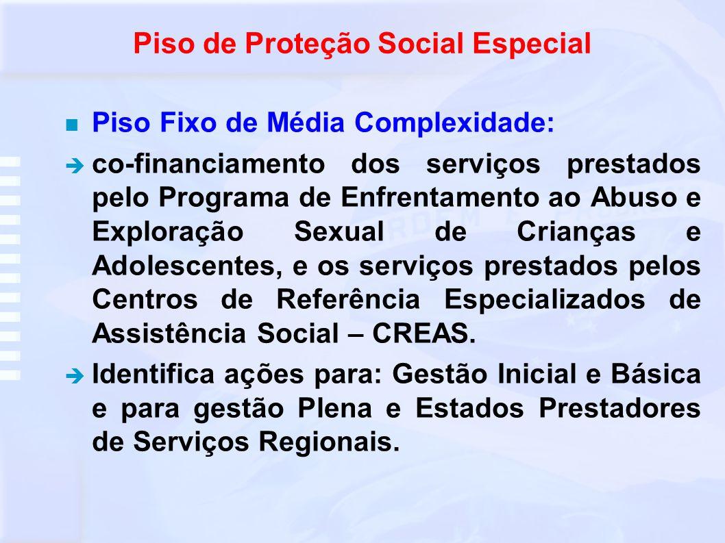 Piso de Proteção Social Especial Alta complexidade I: Utilizado para manutenção dos serviços da rede de acolhimento para crianças, adolescentes, idosos, adultos em situação de vulnerabilidade social, precisando ser abrigados.