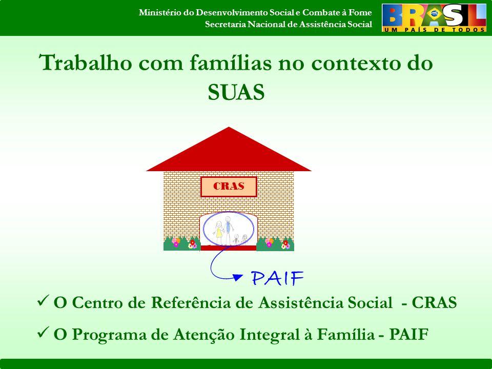 Ministério do Desenvolvimento Social e Combate à Fome Secretaria Nacional de Assistência Social O Centro de Referência de Assistência Social - CRAS O Programa de Atenção Integral à Família - PAIF CRAS Trabalho com famílias no contexto do SUAS PAIF