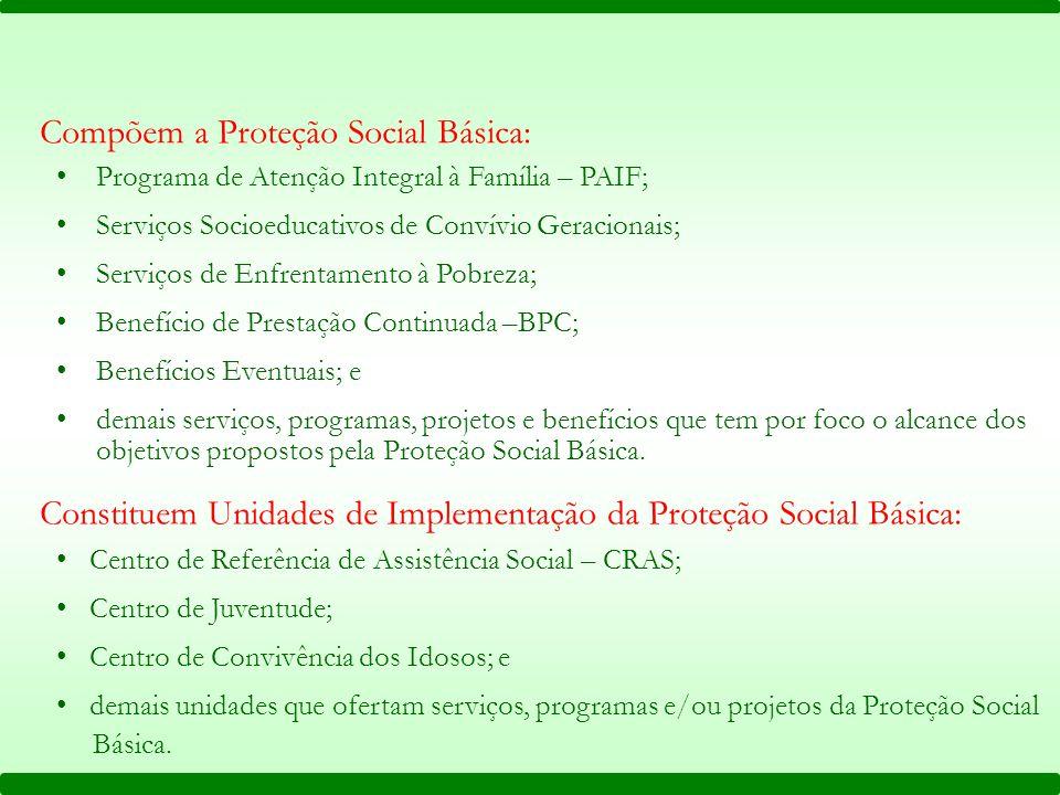 Compõem a Proteção Social Básica: Programa de Atenção Integral à Família – PAIF; Serviços Socioeducativos de Convívio Geracionais; Serviços de Enfrent