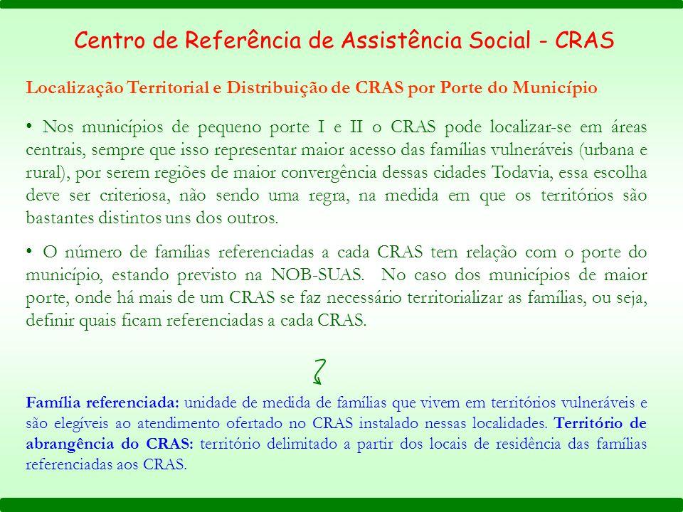Centro de Referência de Assistência Social - CRAS Localização Territorial e Distribuição de CRAS por Porte do Município Nos municípios de pequeno port
