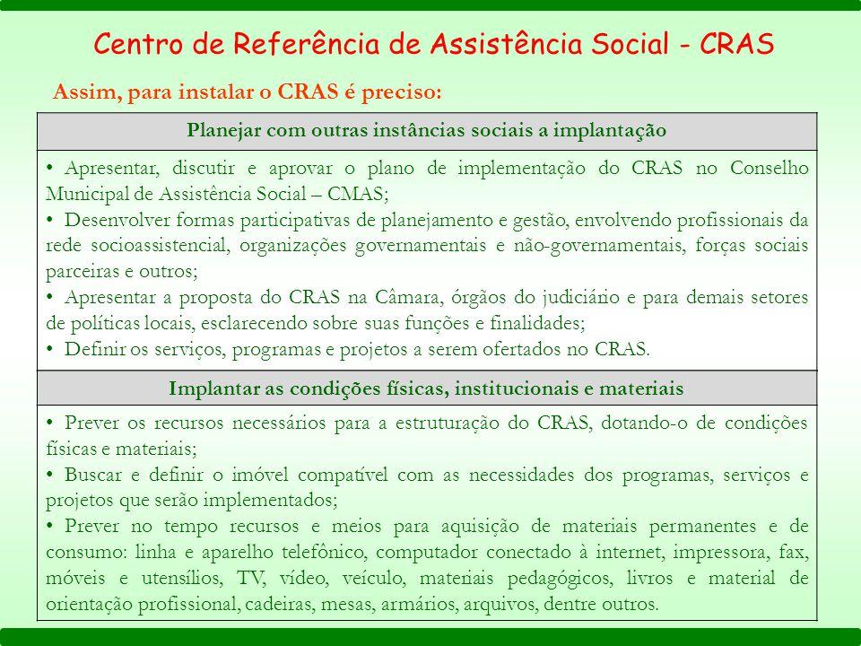 Assim, para instalar o CRAS é preciso: Centro de Referência de Assistência Social - CRAS Planejar com outras instâncias sociais a implantação Apresent