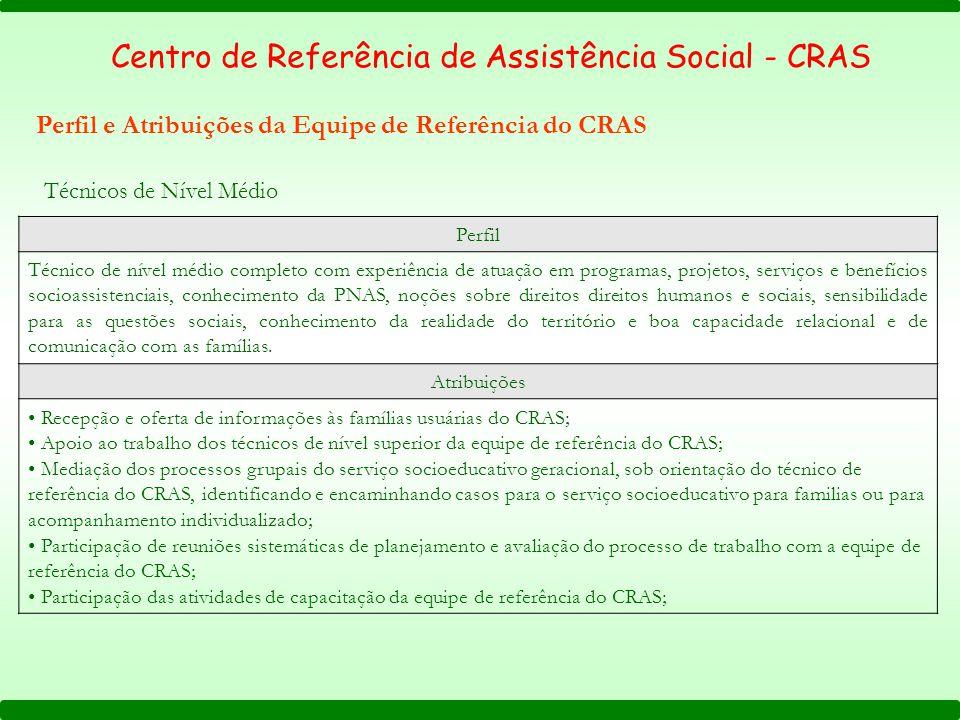 Perfil e Atribuições da Equipe de Referência do CRAS Perfil Técnico de nível médio completo com experiência de atuação em programas, projetos, serviço