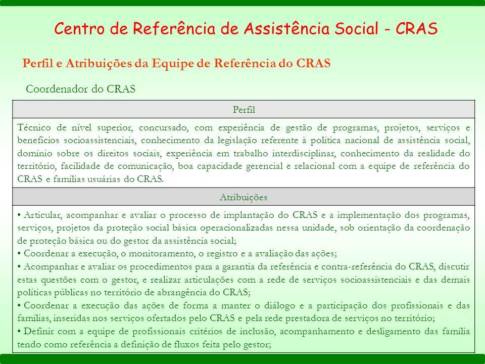 Coordenador do CRAS Perfil Técnico de nível superior, concursado, com experiência de gestão de programas, projetos, serviços e benefícios socioassiste