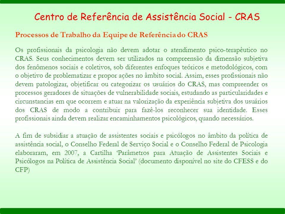 Os profissionais da psicologia não devem adotar o atendimento psico-terapêutico no CRAS.