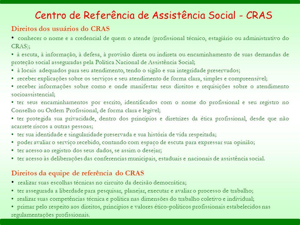 Direitos dos usuários do CRAS conhecer o nome e a credencial de quem o atende (profissional técnico, estagiário ou administrativo do CRAS); à escuta,