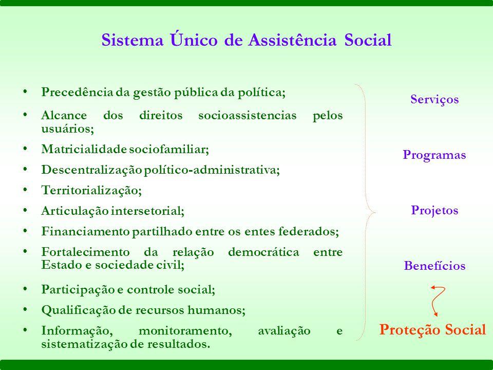 Proteção Social Serviços Programas Projetos Benefícios Sistema Único de Assistência Social Precedência da gestão pública da política; Alcance dos dire
