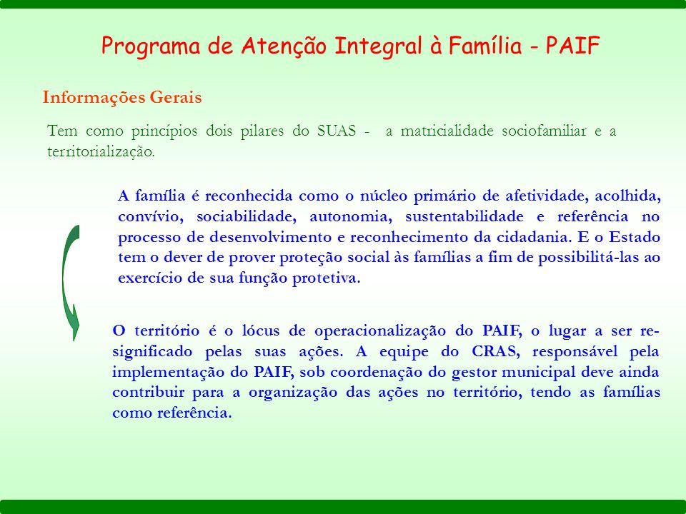 Tem como princípios dois pilares do SUAS - a matricialidade sociofamiliar e a territorialização. A família é reconhecida como o núcleo primário de afe