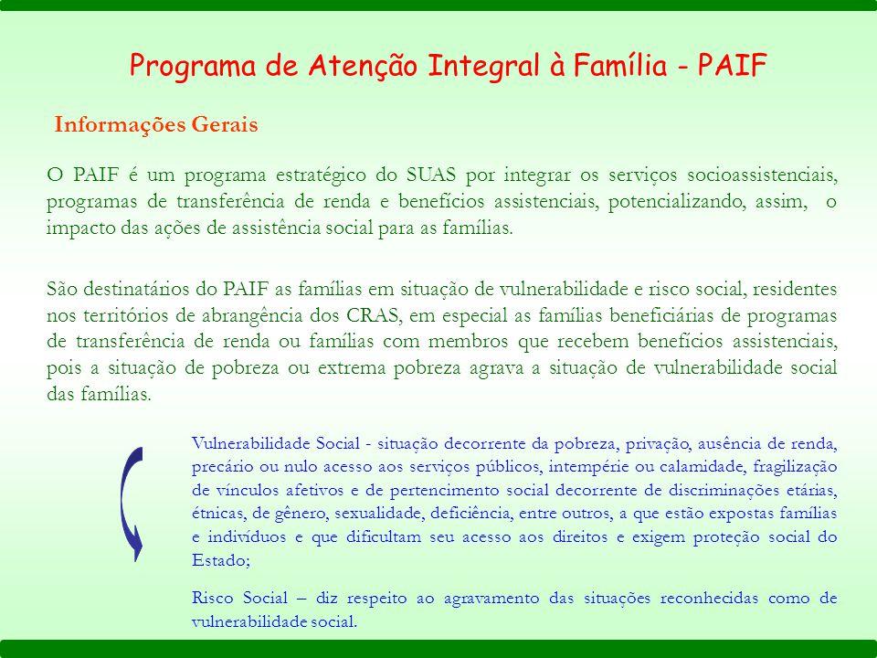 O PAIF é um programa estratégico do SUAS por integrar os serviços socioassistenciais, programas de transferência de renda e benefícios assistenciais,