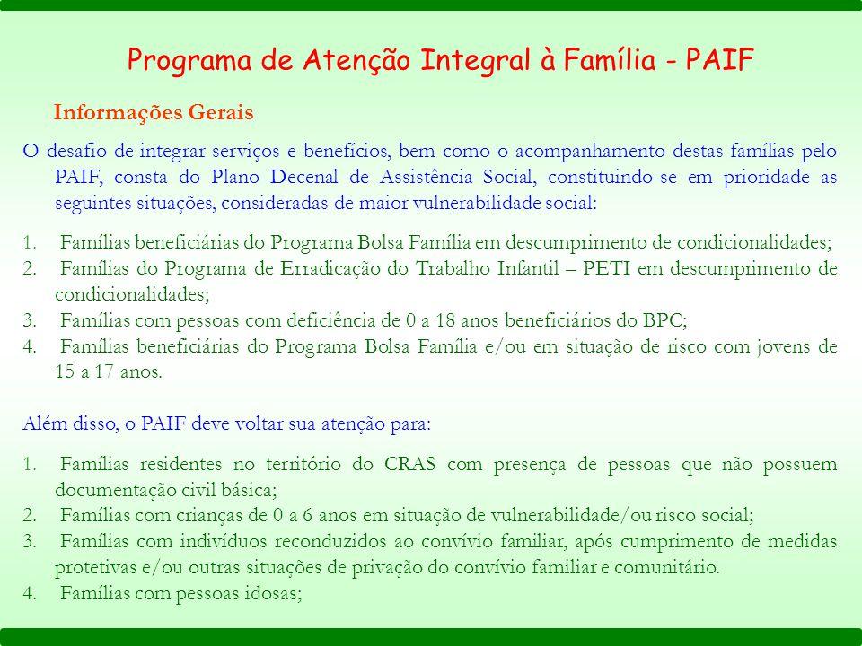 Programa de Atenção Integral à Família - PAIF Informações Gerais O desafio de integrar serviços e benefícios, bem como o acompanhamento destas família