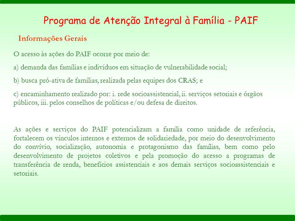 Programa de Atenção Integral à Família - PAIF Informações Gerais O acesso às ações do PAIF ocorre por meio de: a) demanda das famílias e indivíduos em