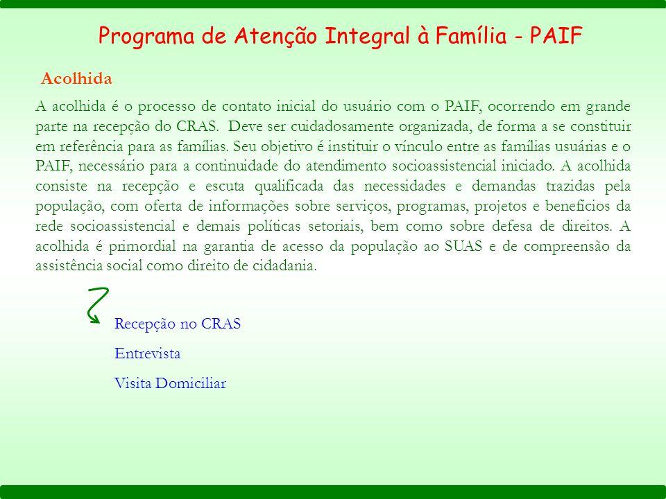 Programa de Atenção Integral à Família - PAIF Acolhida Recepção no CRAS Entrevista Visita Domiciliar A acolhida é o processo de contato inicial do usuário com o PAIF, ocorrendo em grande parte na recepção do CRAS.