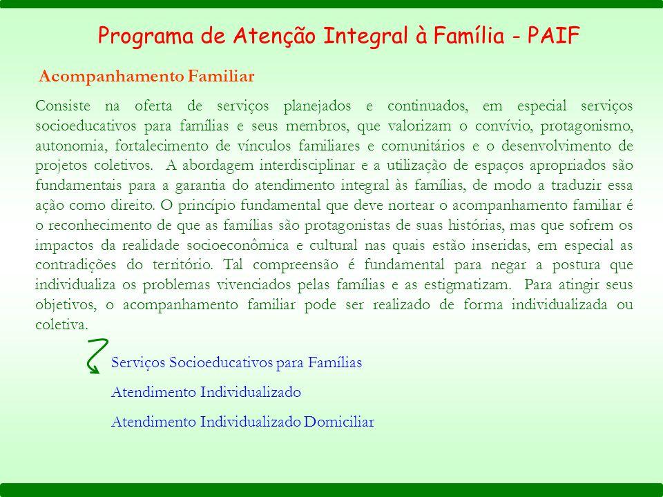 Programa de Atenção Integral à Família - PAIF Acompanhamento Familiar Consiste na oferta de serviços planejados e continuados, em especial serviços so