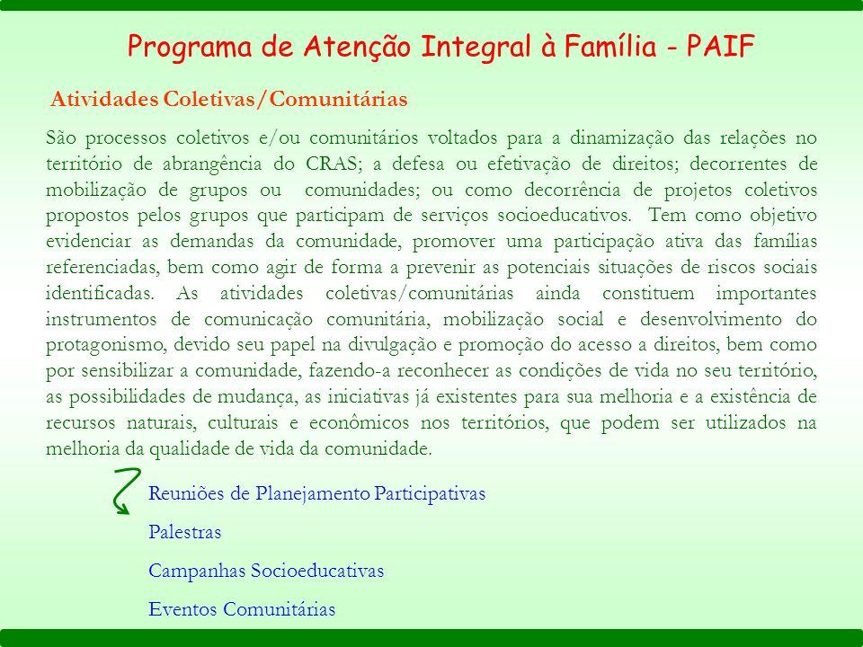 Programa de Atenção Integral à Família - PAIF Atividades Coletivas/Comunitárias São processos coletivos e/ou comunitários voltados para a dinamização