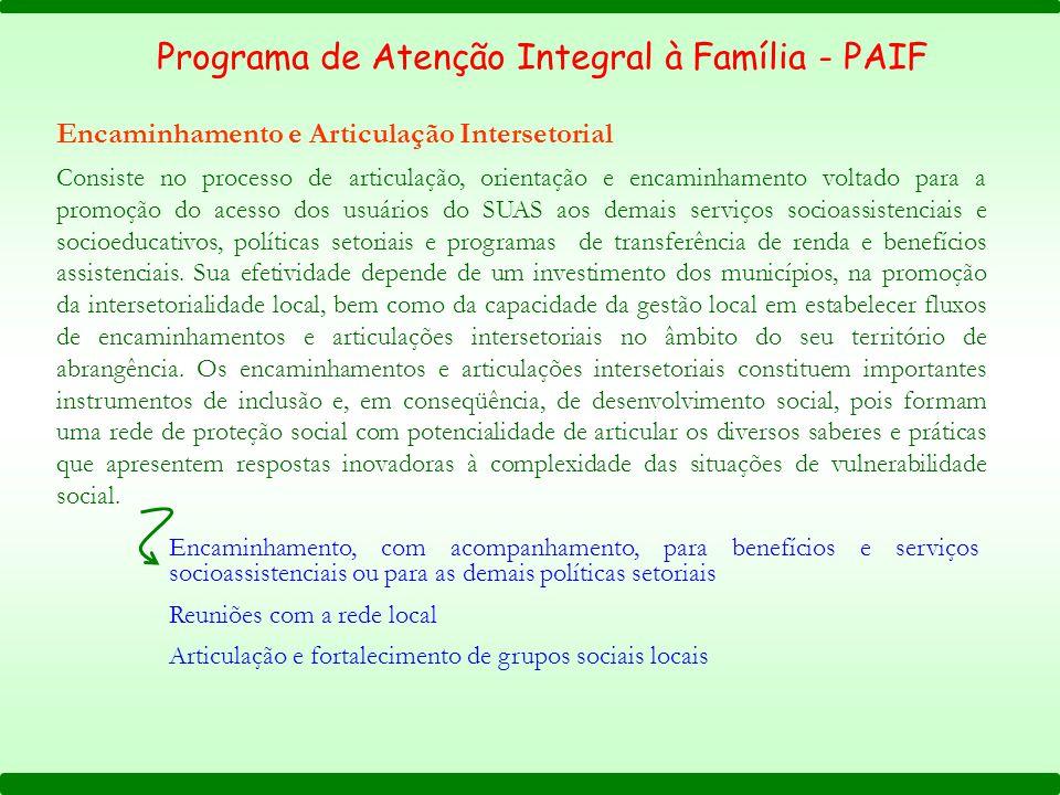 Programa de Atenção Integral à Família - PAIF Encaminhamento e Articulação Intersetorial Consiste no processo de articulação, orientação e encaminhame