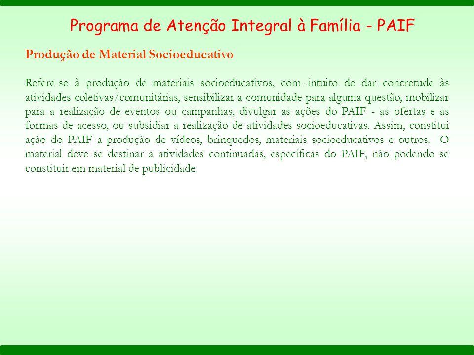 Programa de Atenção Integral à Família - PAIF Produção de Material Socioeducativo Refere-se à produção de materiais socioeducativos, com intuito de da