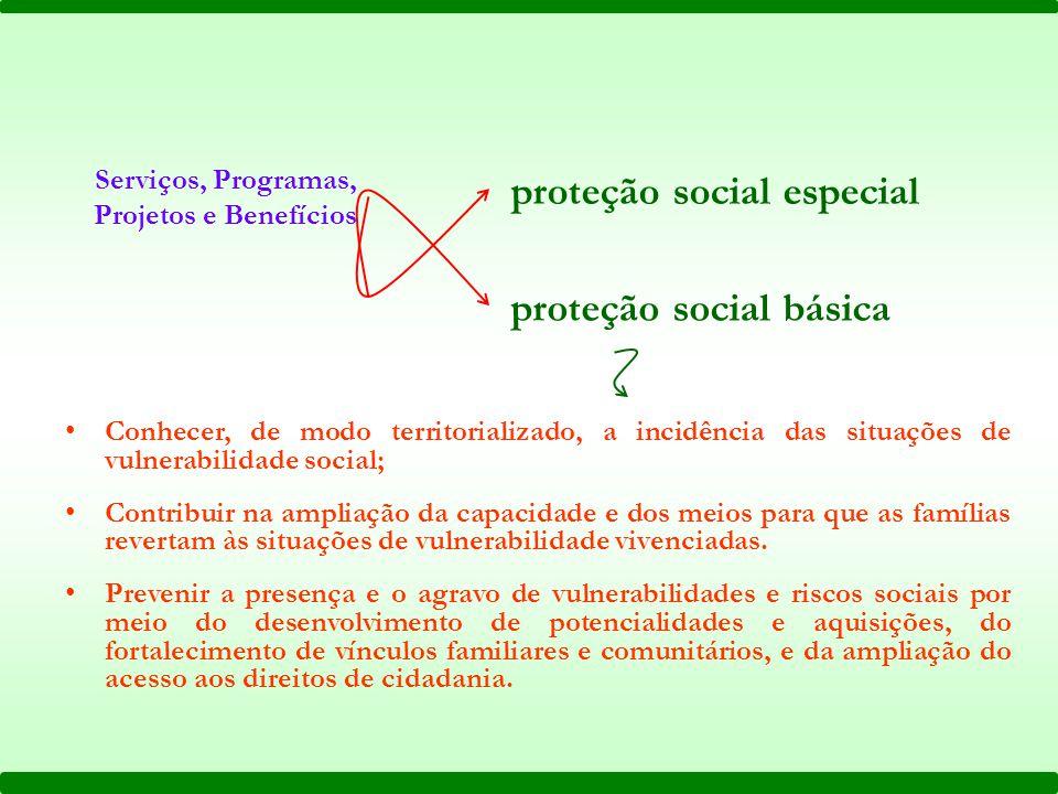 Serviços, Programas, Projetos e Benefícios proteção social especial proteção social básica Conhecer, de modo territorializado, a incidência das situaç