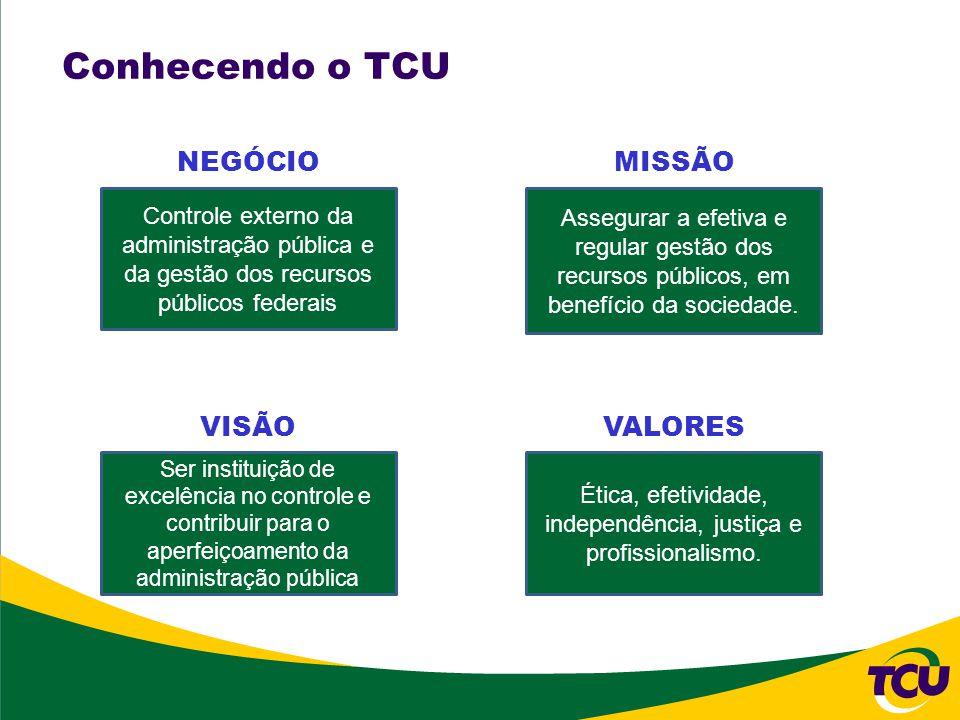 Conhecendo o TCU Controle externo da administração pública e da gestão dos recursos públicos federais Assegurar a efetiva e regular gestão dos recursos públicos, em benefício da sociedade.