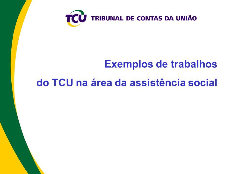 Exemplos de trabalhos do TCU na área da assistência social