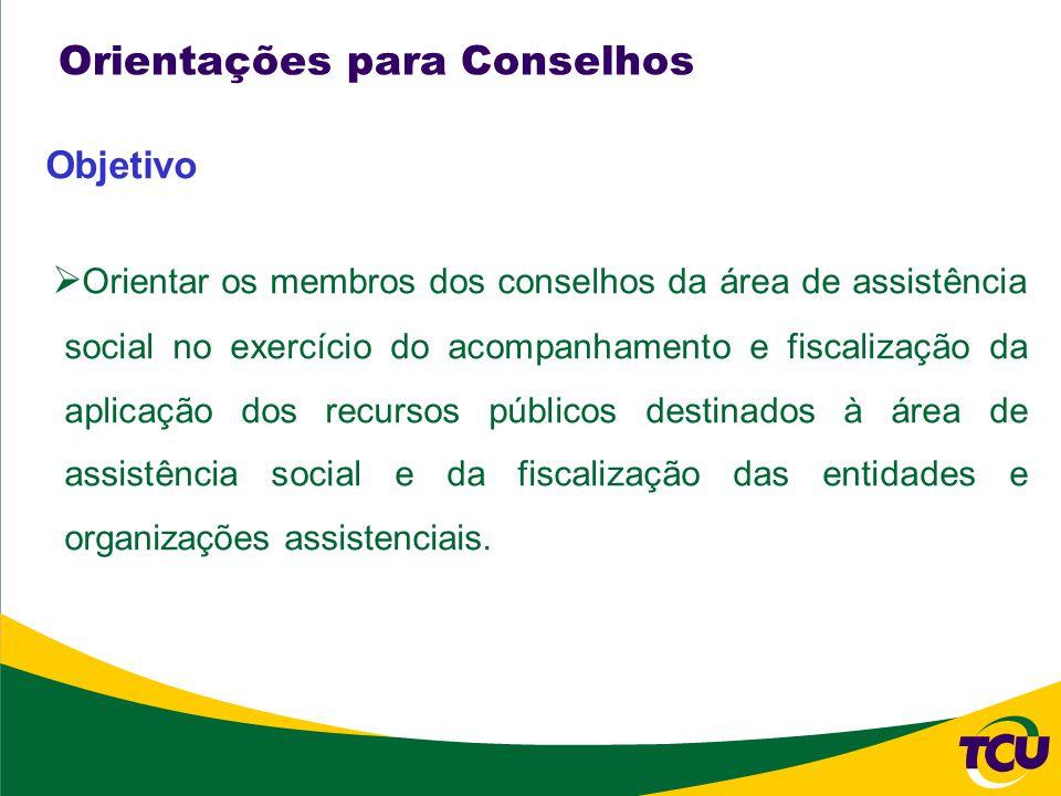 Orientações para Conselhos Objetivo Orientar os membros dos conselhos da área de assistência social no exercício do acompanhamento e fiscalização da aplicação dos recursos públicos destinados à área de assistência social e da fiscalização das entidades e organizações assistenciais.