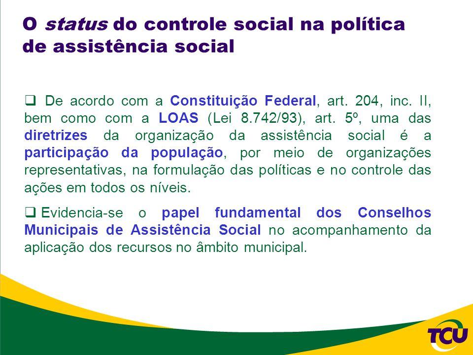 O status do controle social na política de assistência social De acordo com a Constituição Federal, art.