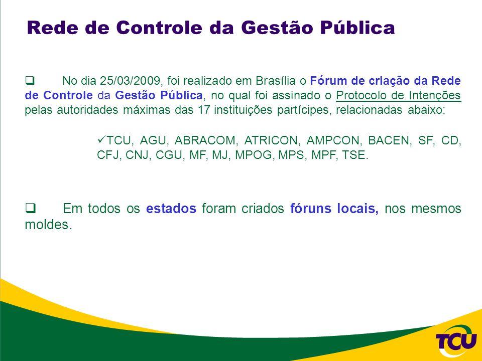 No dia 25/03/2009, foi realizado em Brasília o Fórum de criação da Rede de Controle da Gestão Pública, no qual foi assinado o Protocolo de Intenções pelas autoridades máximas das 17 instituições partícipes, relacionadas abaixo: TCU, AGU, ABRACOM, ATRICON, AMPCON, BACEN, SF, CD, CFJ, CNJ, CGU, MF, MJ, MPOG, MPS, MPF, TSE.