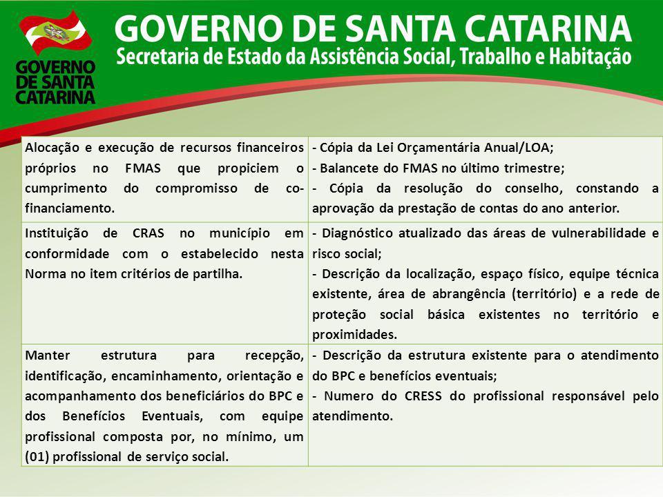 Alocação e execução de recursos financeiros próprios no FMAS que propiciem o cumprimento do compromisso de co- financiamento. - Cópia da Lei Orçamentá