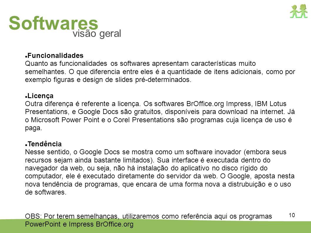 10 Funcionalidades Quanto as funcionalidades os softwares apresentam características muito semelhantes. O que diferencia entre eles é a quantidade de